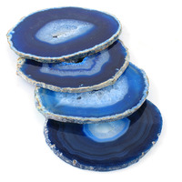 Agate Coaster #4 design Blue Color Coaster Wholesale Price Drink Coaster Tableware Bar Accessories Dinning Table Accessories