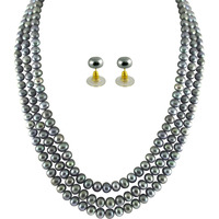 Fashion Women Jewelry Triple String Grey Pearl Set