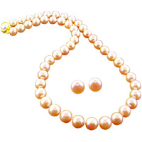 Fashion Women Jewelry Single Strand Pink Diya Pearl Necklace