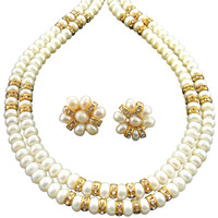 Fashion Women Jewelry Double String Caramel Pearl Set