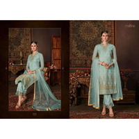 Women's ethnic designer Festive wear & Party Wear  Net Embroidered Dresses Sky Blue Color