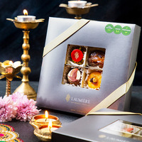 Laumiere Gourmet Fruits - Diwali Collection - Square - Dried Fruits and Nuts Box - Indian Mithai - Sweets - Vegetarian - Healthy