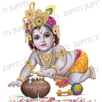 Indian God Krishna Colorful Dresses Poster