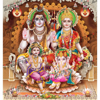 Indian God Shiva Family With Decorated Background Poster