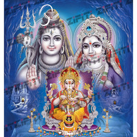 Indian Lord Shiva Family With Decorative Background Poster