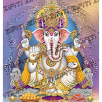 Indian God Ganesha Illustration With Background Poster