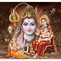 Lord Shiva with Goddess Parvati and God Ganesha & Kartikeya -  4x6 Inch Frame
