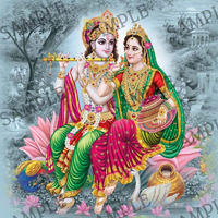 Lord Krishna with Goddess Radha -  4x6 Inch Frame