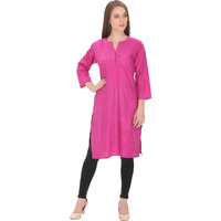 Purplicious Pink Formal Kurti with round neck and buttons in front