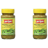 Pack of 2 - Priya Green Chilli Pickle No Garlic - 300 Gm