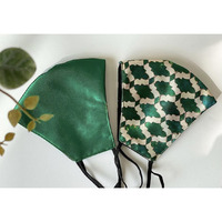 Satin Face Mask Pair with Nose Wire & Filter Pocket - Set of 2 (Color: Basil- Green)