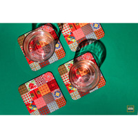 Coaster Set of 6 (Color: Red)