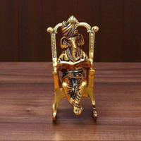 Antique Brass 3D Moving Lord Ganesha Statue Sitting on A Chair and Reading Ramayan