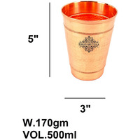 IndianArtVilla Pure Copper Big top Hammered Design Glass Tumbler & 2 Ring 16 Oz