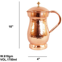 IndianArtVilla Pure Copper Mughlai Hammered Design Jug Pitcher 57 Oz
