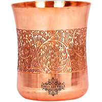 IndianArtvilla Copper Curved Embossed Design Glass Tumbler 10 Oz