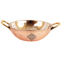 IndianArtVilla Steel Copper Kadai With Handle 16 oz