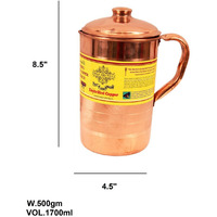 IndianArtVilla Copper Luxury Jug Pitcher 57 OZ storage Water Ayurveda Healing