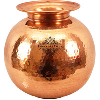 IndianArtVilla Pure Copper Water Pot Container with LidAyurveda Healing 473 OZ