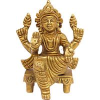 IndianArtVilla Handmade Brass Godess Lakshmi God of Money Wealth God Idol