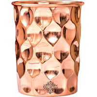 IndianArtVilla Copper Diamond Hammered Glass Tumbler, 33Oz
