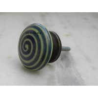 IndianShelf Handmade 8 Piece Ceramic Green Stripe Flat Home Decor Dresser Knobs/Wardrobe Cabinet Pulls