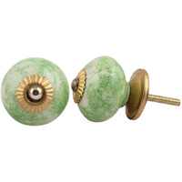 IndianShelf Handmade 10 Piece Ceramic Green Round Vintage Furniture Knobs/Wardrobe Pulls