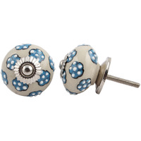 IndianShelf Handmade 10 Piece Ceramic Turquoise Tiny Floral Decorative Dresser Knobs/Cabinet Pulls