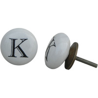 IndianShelf Handmade 10 Piece Ceramic White K Alphabet Decorative Dresser Knobs/Cabinet Pulls