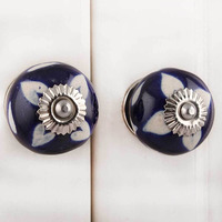 IndianShelf Handmade 10 Piece Ceramic Blue Etched Artistic Designer Drawer Knobs/Cabinet Pulls