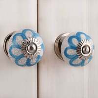 IndianShelf Handmade 10 Piece Ceramic Blue Floral Crackle Artistic Designer Drawer Knobs/Cabinet Pulls
