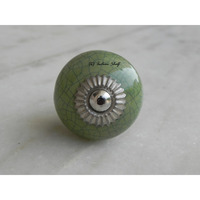 IndianShelf Handmade 10 Piece Ceramic Green Crackle Artistic Designer Drawer Knobs/Cabinet Pulls