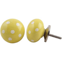 IndianShelf Handmade 10 Piece Ceramic Yellow Polka Dot Decorative Dresser Knobs/Cabinet Pulls