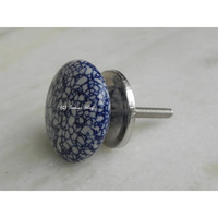 IndianShelf Handmade 10 Piece Ceramic Blue Flat Crackle Decorative Dresser Knobs/Cabinet Pulls