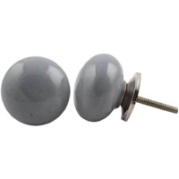 IndianShelf Handmade 10 Piece Ceramic Grey Flat Solid Vintage Furniture Knobs/Wardrobe Pulls
