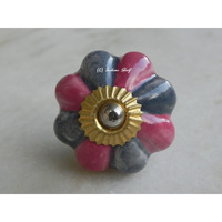 IndianShelf Handmade 10 Piece Ceramic Pink Floral Vintage Furniture Knobs/Wardrobe Pulls