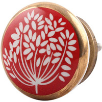 IndianShelf Handmade 12 Piece Ceramic Red Wax Flower Flat Artistic Drawer Knobs/Cabinet Pulls