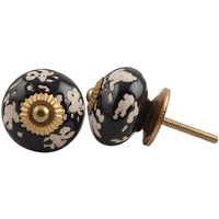 IndianShelf Handmade 12 Piece Ceramic Black Leaf Home Decor Dresser Knobs/Wardrobe Cabinet Pulls