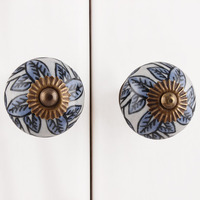 IndianShelf Handmade 12 Piece Ceramic White Leafy Artistic Drawer Knobs/Cabinet Pulls