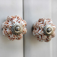 IndianShelf Handmade 12 Piece Ceramic Brown Floral Melon Artistic Drawer Knobs/Cabinet Pulls