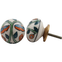 IndianShelf Handmade 12 Piece Ceramic Multicolor Flat Home Decor Dresser Knobs/Wardrobe Cabinet Pulls