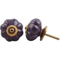 IndianShelf Handmade 12 Piece Ceramic Purple Solid Home Decor Dresser Knobs/Wardrobe Cabinet Pulls