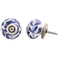 IndianShelf Handmade 12 Piece Ceramic Blue Flower Decorative Room Drawer Knobs/Cabinet Door Pulls