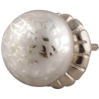 IndianShelf Handmade 12 Piece Glass Silver Dome Mercury Artistic Drawer Knobs/Cabinet Pulls