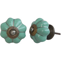 IndianShelf Handmade 12 Piece Ceramic Green Solid Home Decor Dresser Knobs/Wardrobe Cabinet Pulls