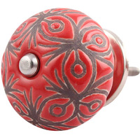 IndianShelf Handmade 14 Piece Ceramic Red Floral Etched Artistic Designer Drawer Knobs/Cabinet Pulls