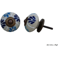 IndianShelf Handmade 14 Piece Ceramic Blue Floral Decorative Dresser Knobs/Cabinet Pulls