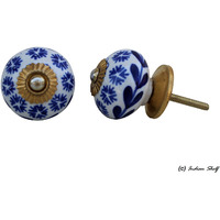 IndianShelf Handmade 14 Piece Ceramic Blue Tiny Flower Vintage Furniture Knobs/Wardrobe Pulls