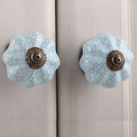 IndianShelf Handmade 14 Piece Ceramic Blue Crackle Artistic Designer Drawer Knobs/Cabinet Pulls