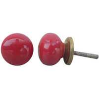 IndianShelf Handmade 14 Piece Ceramic Red Solid Vintage Furniture Knobs/Wardrobe Pulls